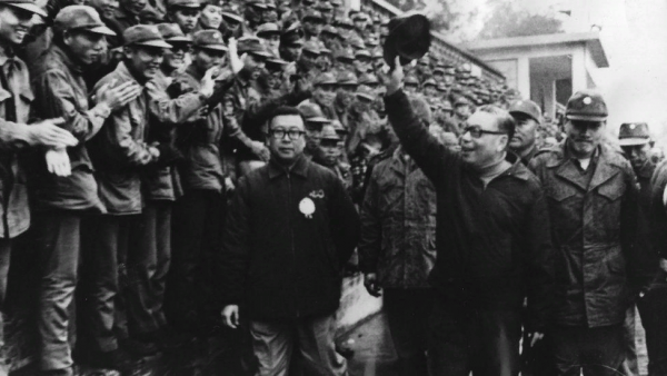 28 February, 1975: Premier Chiang Ching-Kuo of Taiwan (1910 - 1988), son of Chiang Kai-Shek, visits troops in Kinmen Island during the Chinese lunar New Year to convey President Chiang Kai-Shek's warm regards to the garrison.