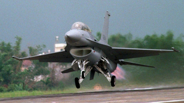MAY 17: File photo dated 17 May 1997 of a double-seat F-16 fighter jet taking off from Chiayi airbase in central Taiwan in a public display shortly after its arrival from the USA. A Taiwanese F16 from Chiayi crashed in the Taiwan Strait 20 March, with the two crew aboard currently listed as missing. The incident was the third air crash involving Taiwan aircraft in the last four days. AFP PHOTO (Photo credit should read TAO-CHUAN YEH/AFP/Getty Images)