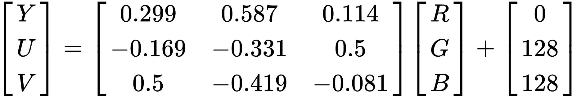 RGB 转 YUV 的转换矩阵