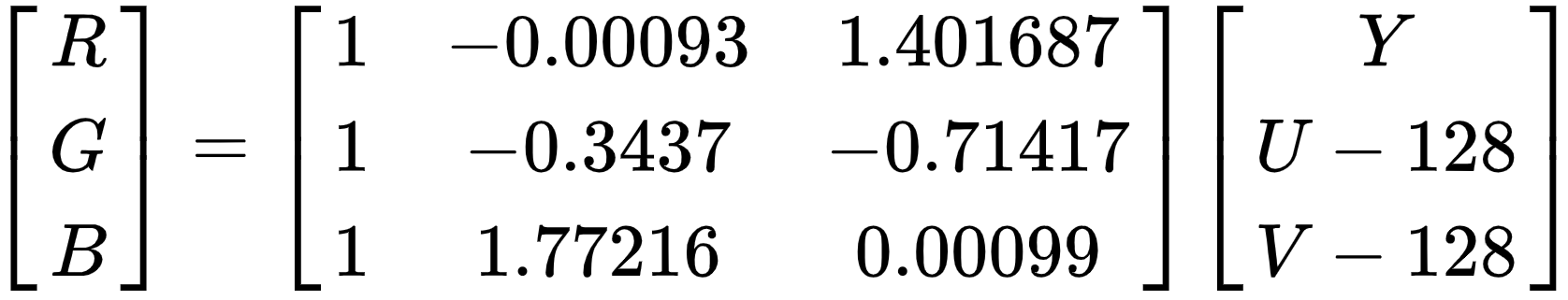 YUV 转 RGB 的转换矩阵