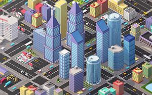 C4D低多边形城市楼房模型