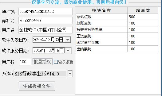 金蝶KIS行政事业版V14授权维护工具-资源迷