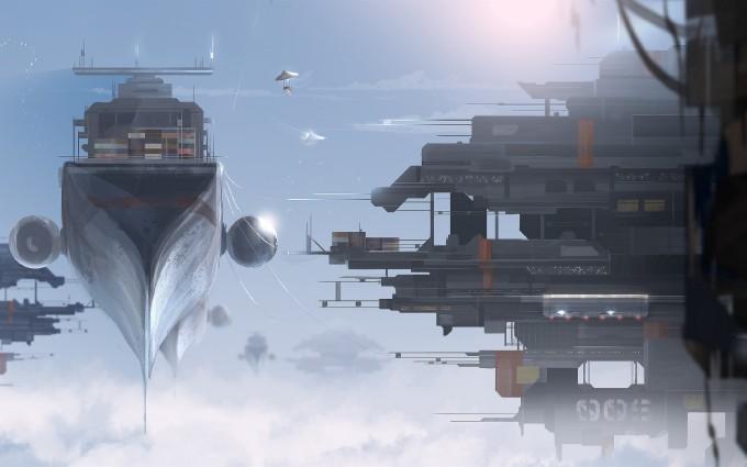 对于未来的幻想——宇宙飞船壮观插画