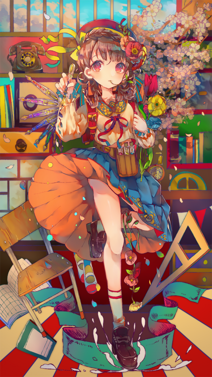 日系可爱动漫插画美少女卡通手机壁纸