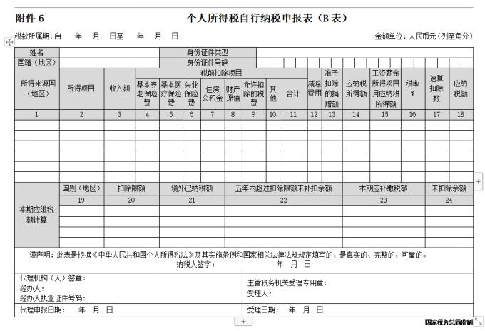 《个人所得税自行纳税申报表(B表)》