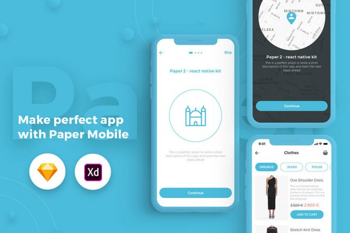 清新的手机UI组件Paper_Kit_Mobile