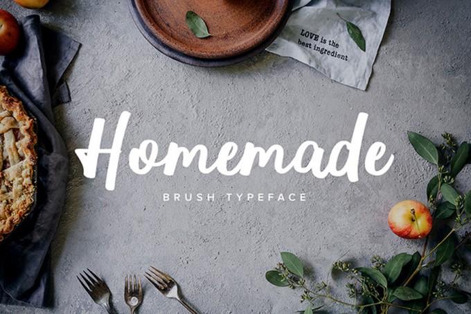 轻松的美食艺术笔刷字体Homemade Brush