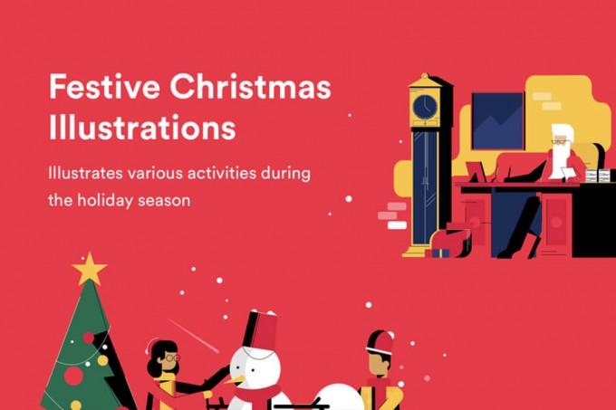 圣诞节扁平风格插图