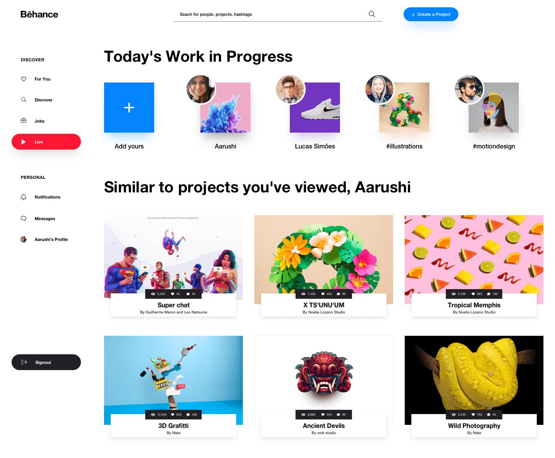 Behance 网站 redesign .sketch素材