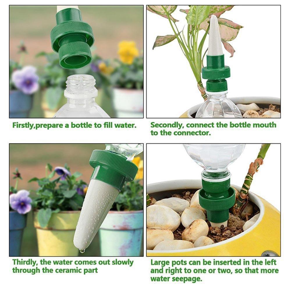 Arrosage Automatique Goutte À Goutte Avec Bouteille Plastique automatique plante d'irrigation d'eau distributeur cône en céramique tête  plante verseur goutte à goutte d'irrigation