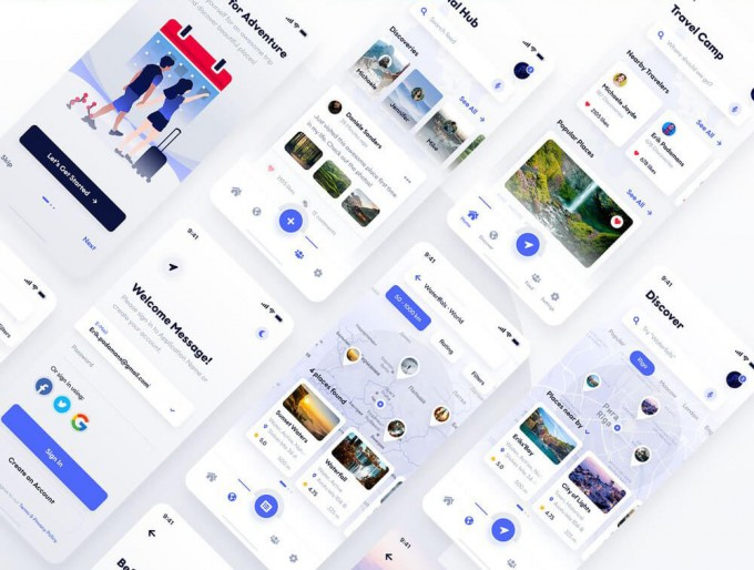 清新简约高端的社交图片分享Travel & Discovery UI Kit