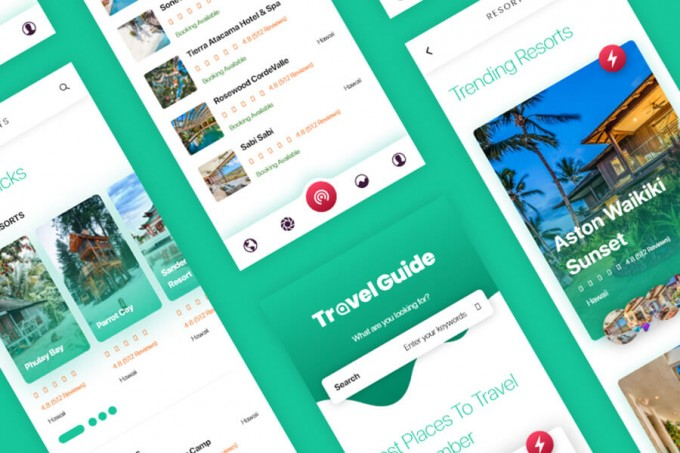 绿色旅游成套APP界面Travel App UI Kit
