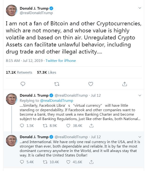 【SCT】川普总统发推聊比特币:我不喜欢它,美元才是最爱。