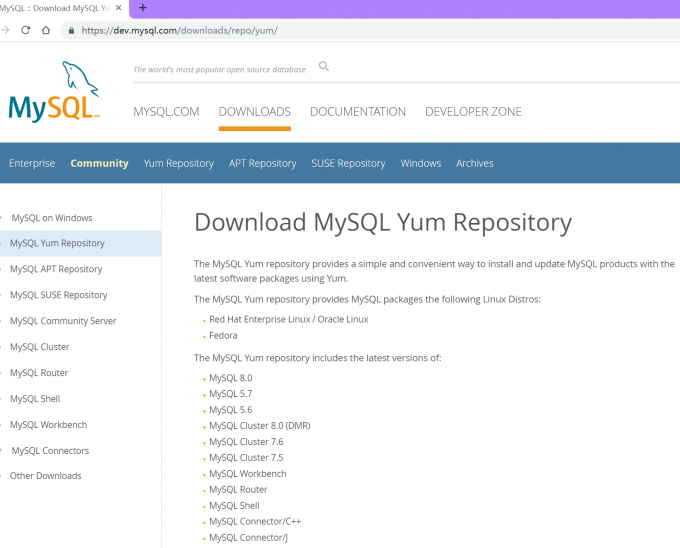 MySQL官网的下载界面