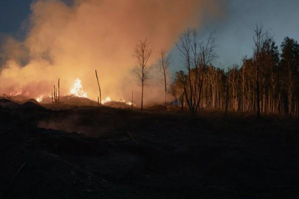 坎斯克郊外一个木头残片废料堆在燃烧。