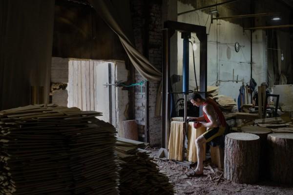 坎斯克,一家俄罗斯人经营的木材厂。