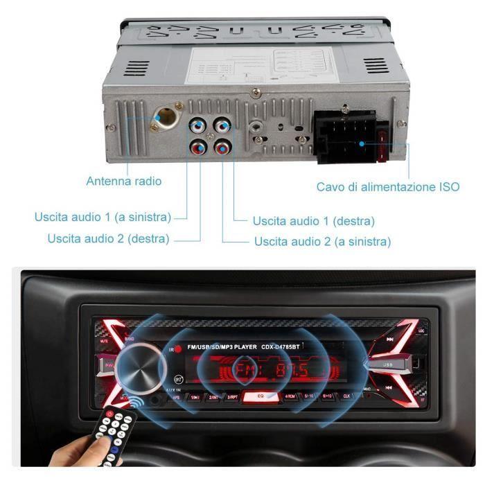 1 Din 2Ports USB Charge Rapide Radio de Voiture 4x60W Poste Radio 7Couleurs FM St/ér/éo Radio USB//SD//AUX//EQ//Lecteur MP3 Autoradio Autoradio Bluetooth