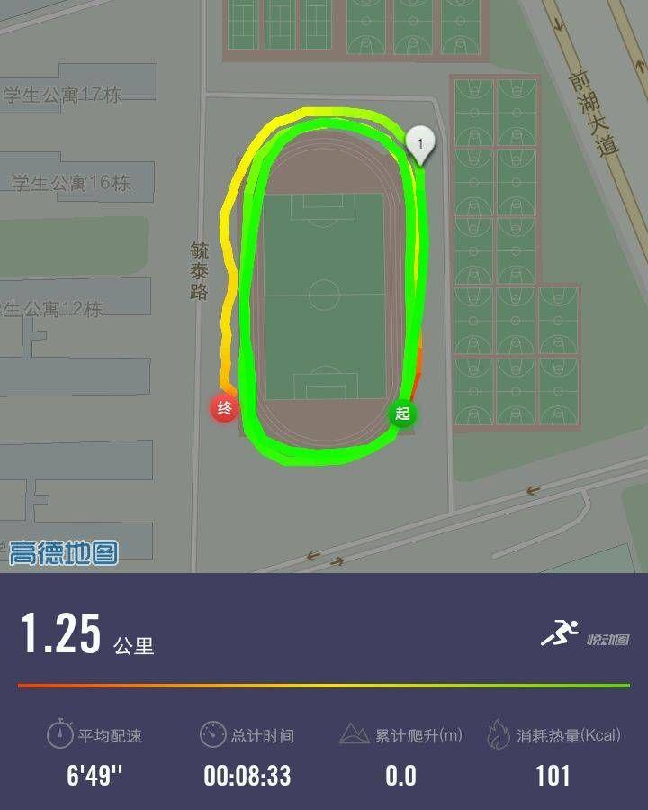 考研时的跑步轨迹