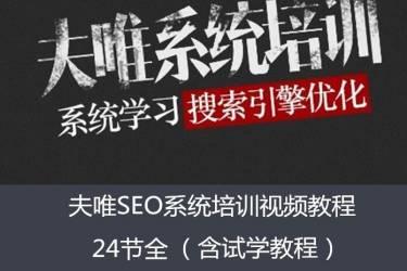 夫唯SEO系统教程24节全+夫唯大型网站SEO执行方案