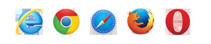 Internet Explorer 9+|Google Chrome 2.0 +|Safari 4 +|FireFox 3.5 +|Opera