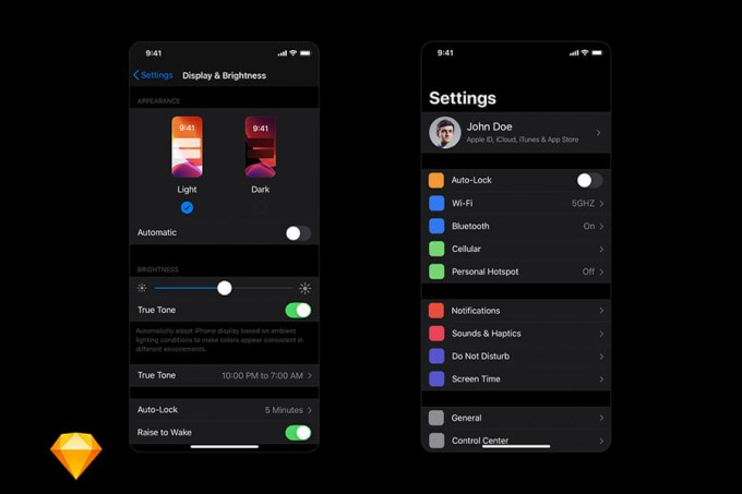 iOS 13 Darkmode 设置页面ui