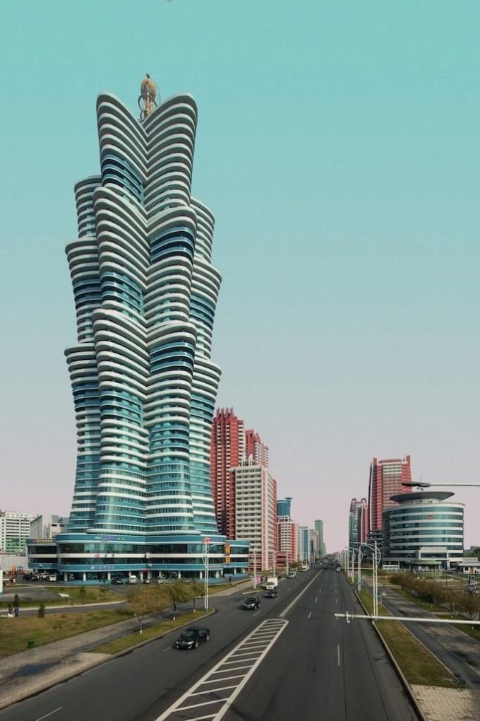 平壤未来科学家大道上一座未来主义造型的新建筑。