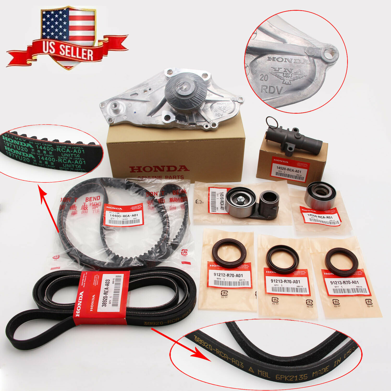 9x Timing Belt& Water Pump Kit Fits For HONDA/ACURA