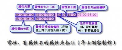 NTFS文件系统中MFT项中主要字节的标注