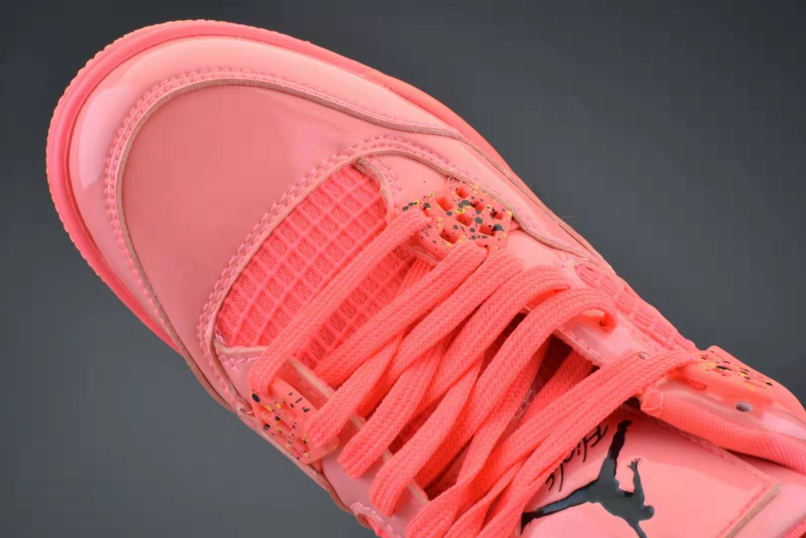 耐克 Nike Air Jordan 4 Retro NRG AJ4 粉红糖果 漆皮镜面篮球鞋/女鞋