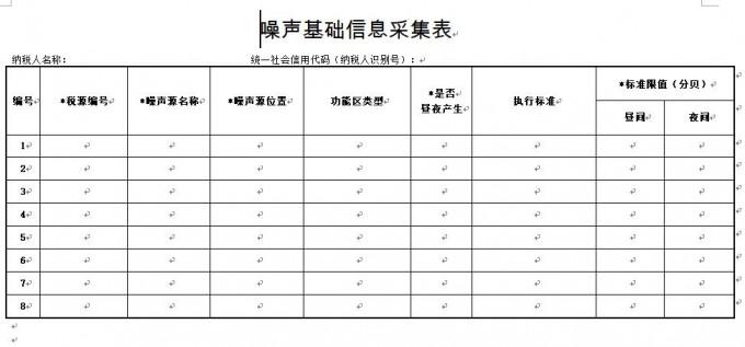 《噪声基础信息采集表》及填表说明下载