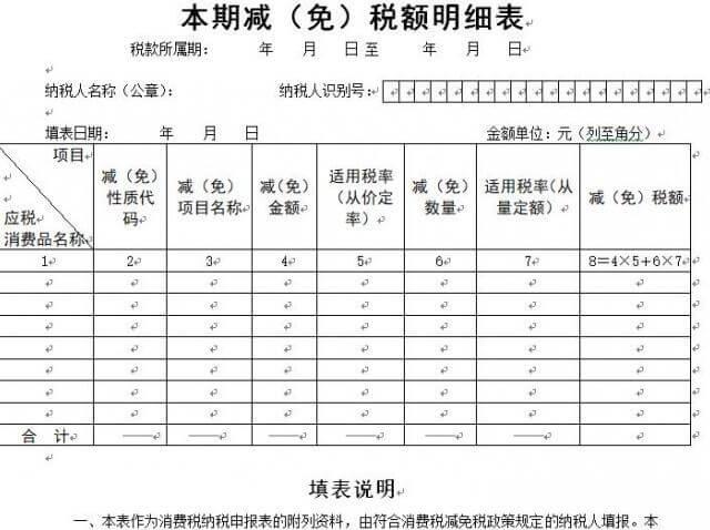 《本期减(免)税额明细表》填表说明及填写样例下载