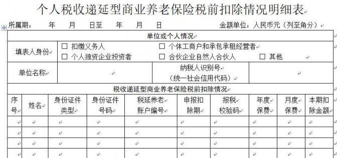《个人税收递延型商业养老保险税前扣除情况明细表》空表和填表说明下载