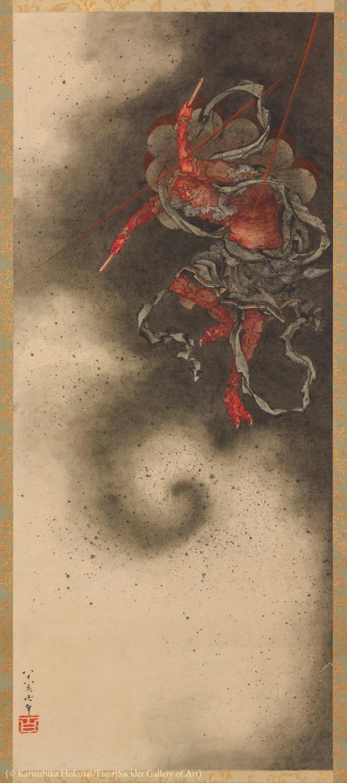 """葛饰北斋88岁高龄创作的""""雷神""""(Thunder God)"""