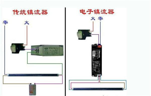 电感镇流器和电子镇流器接线图