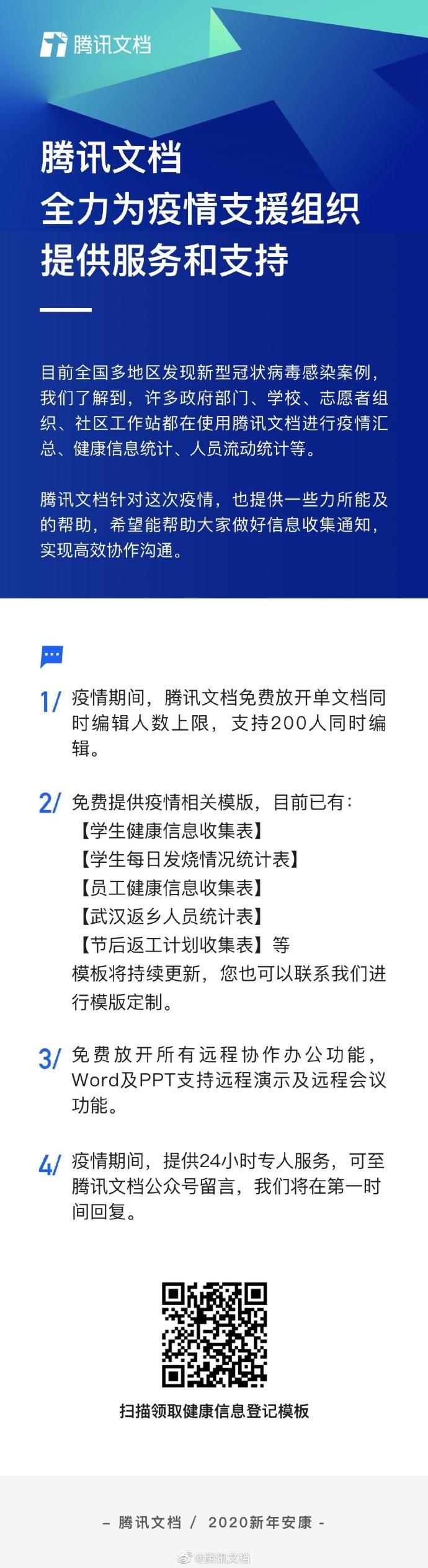 腾讯文档:免费放开单文档同时编辑人数上限,所有远程协作办公功能