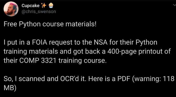 美國國家安全局 NSA 的 Python 培訓文檔
