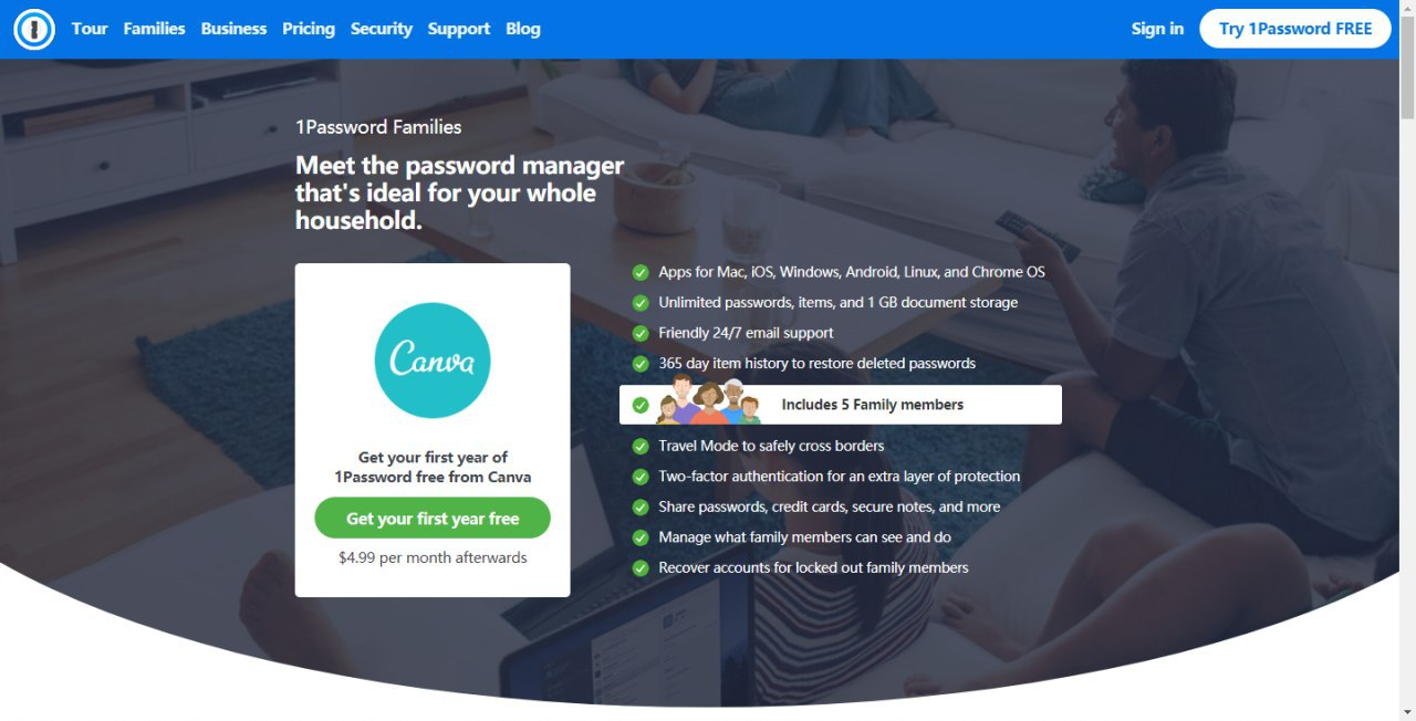 1password免费领取一年家庭版